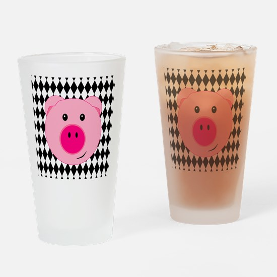 Cute Pink Pig on Retro Diamond Background Drinking