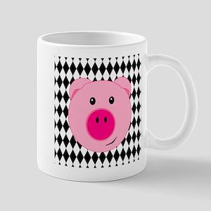 Cute Pink Pig on Retro Diamond Background Mug