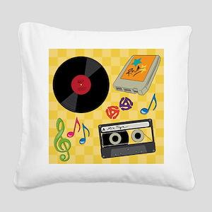 Retro Music Collection Square Canvas Pillow