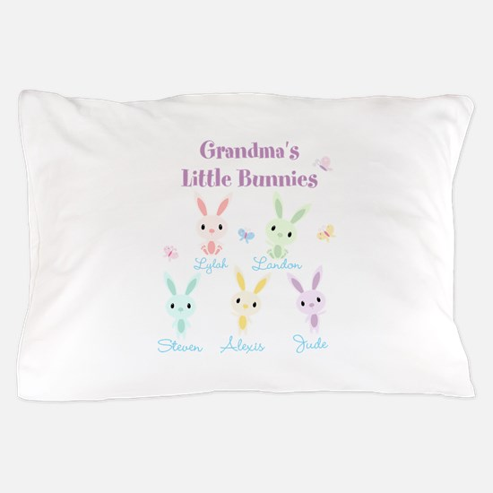 Grandmas little bunnies custom Pillow Case