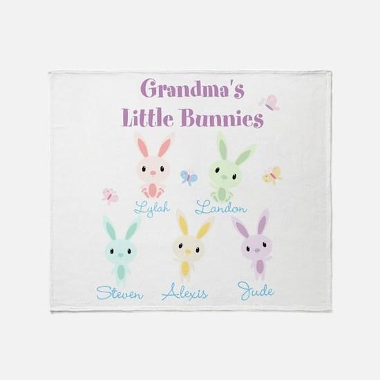 Grandmas little bunnies custom Throw Blanket