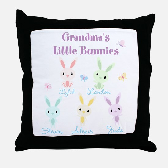 Grandmas little bunnies custom Throw Pillow