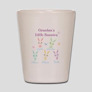 Grandmas little bunnies custom Shot Glass