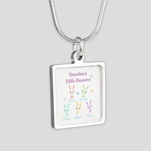Grandmas little bunnies custom Silver Square Neckl