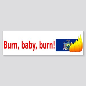 New York State Flag Burn (wide) Bumper Sticker