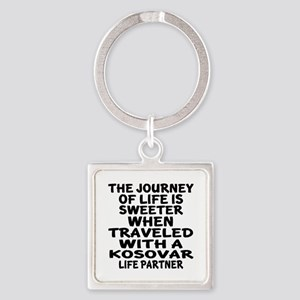 Traveled With Kosovar Life Partner Square Keychain