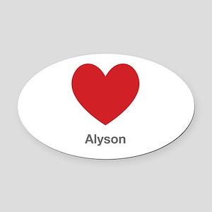 Alyson Big Heart Oval Car Magnet
