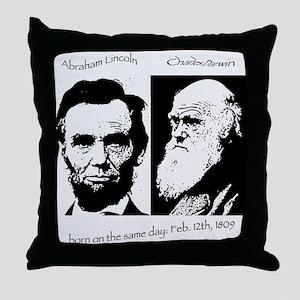 Abraham Lincoln & Charles Darwin Throw Pillow
