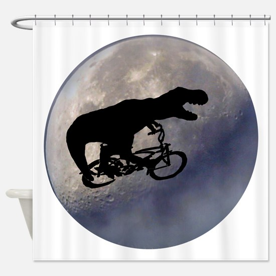 T-Rex vintage moon Shower Curtain