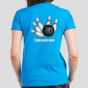 Personalized Team Bowling Women's Dark T-Shirt