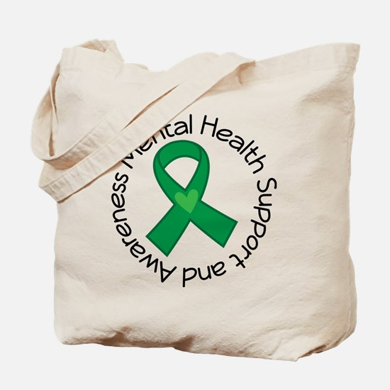 Mental Health Heart Ribbon Tote Bag