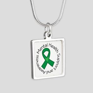 Mental Health Heart Ribbon Silver Square Necklace