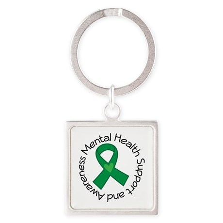 Mental Health Heart Ribbon Square Keychain