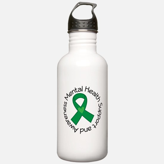 Mental Health Heart Ribbon Water Bottle