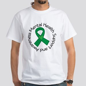 Mental Health Heart Ribbon White T-Shirt