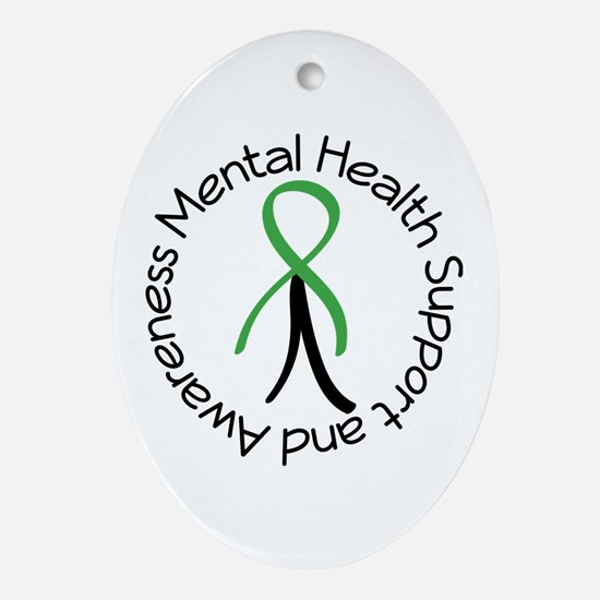 Mental Health Stick Figure Ornament (Oval)