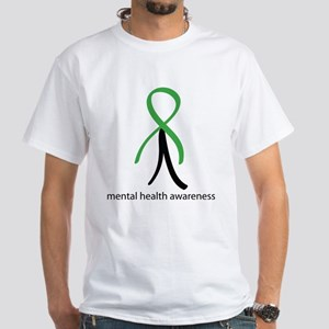 Mental Health Green Stick Man White T-Shirt