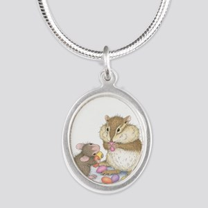 Sweet Friends Silver Oval Necklace