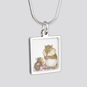Sweet Friends Silver Square Necklace