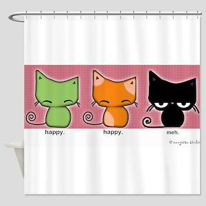 happy.happy.meh kitties Shower Curtain