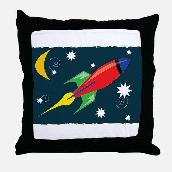 Rocket Ship Throw Pillow