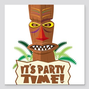 """Its Party Time! Square Car Magnet 3"""" x 3"""""""