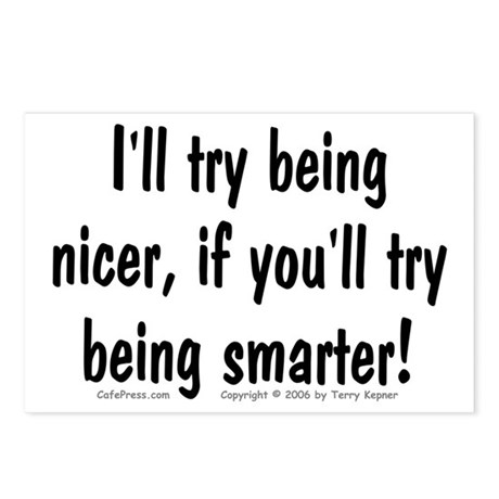Try Being Nicer (txt) Postcards (Package of 8)