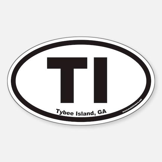 Tybee Island TI Euro Oval Decal