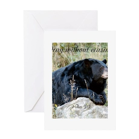Bear Pray without ceasing print Greeting Cards