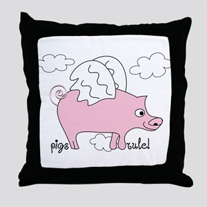 Pigs Rule! Throw Pillow