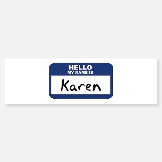 Hello: Karen Bumper Car Car Sticker