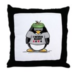 Poker Penguin Throw Pillow