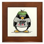 Poker Penguin Framed Tile