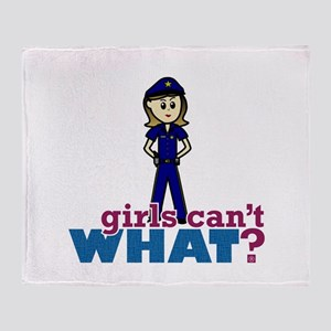 Police Woman Throw Blanket
