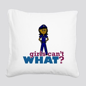 Woman Police Officer Square Canvas Pillow