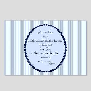 Romans 8 28 Bible Verse Blue Postcards (Package of