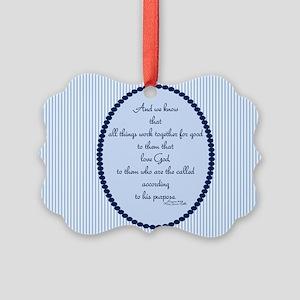 Romans 8 28 Bible Verse Blue Ornament