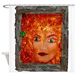 RedCelticWoodSprite_cafeZZ-framed Shower Curtain