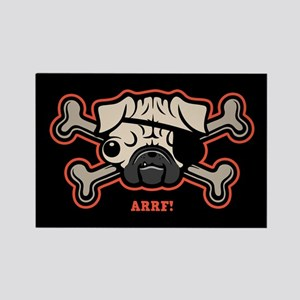 Pirate Pug 21213 Rectangle Magnet