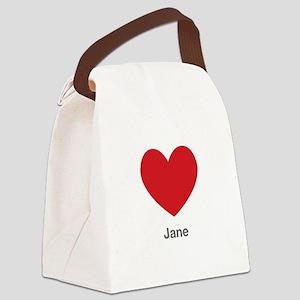 Jane Big Heart Canvas Lunch Bag
