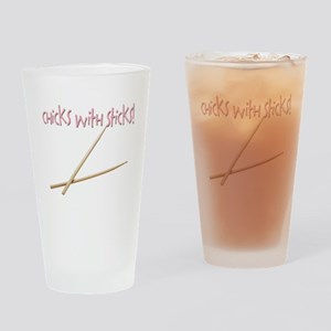 Chicks with Sticks Drinking Glass