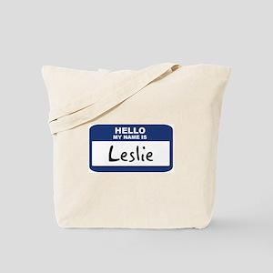 Hello: Leslie Tote Bag