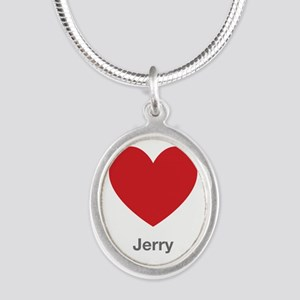 Jerry Big Heart Silver Oval Necklace