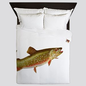 Vintage trout fishing illustration Queen Duvet