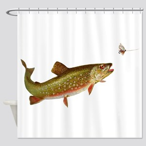 Vintage trout fishing illustration Shower Curtain