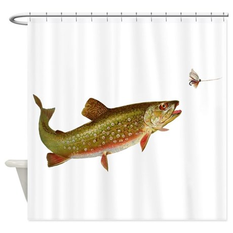 fish shower curtain vintage trout fishing illustration shower curtain by doodlefly 28792