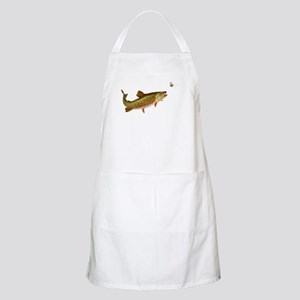 Vintage trout fishing illustration Apron