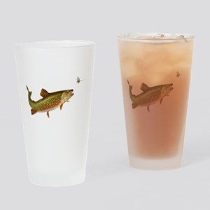 Vintage trout fishing illustration Drinking Glass