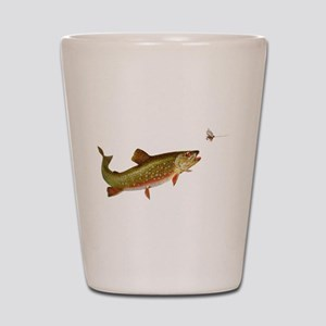 Vintage trout fishing illustration Shot Glass