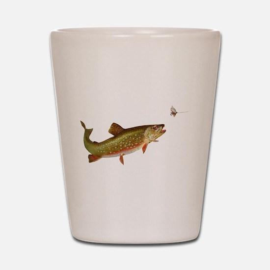Vintage trout fishing illustration Shot Glass